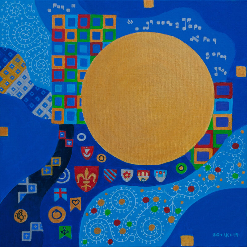 Golden Circle on a Blue Background — Painting by Vit Kolesnik